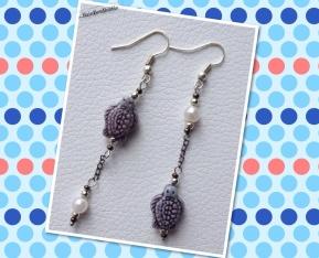 Orecchini con la tartarughina di Lampedusa e qualche perlina decorativa